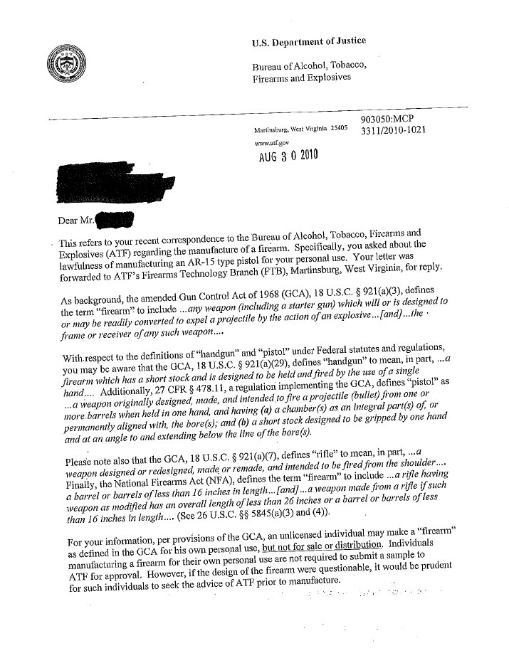 Atf opinion letter on ar pistols some key considerations ronins i recommend people print and keep copies of letters just in case they need to show someone that some aspect of a weapon was approved by the atf at some altavistaventures Images