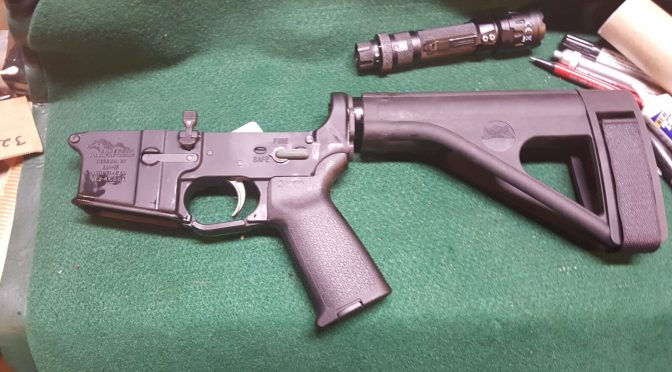 Assembling an AR Lower – Step 9 of 11:  Installing the Buffer Tube and Arm Brace