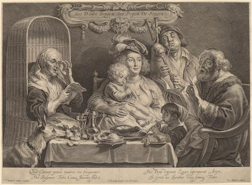 """""""Das Familienkonzert"""", Stich nach einem Ölgemälde von Jacob Jordaens (Soo d'oude songen soo pepen de jongen - As the old sing, so the young twitter - Wie die Alten singen, so zwitschern die Jungen)"""