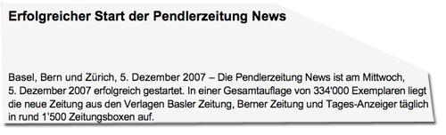 Tamedia-Pressemitteilung von 2007