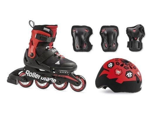 Rolki dla dzieci Rollerblade 2020 Cube Black/Red w zestawie z kaskiem i ochraniaczami