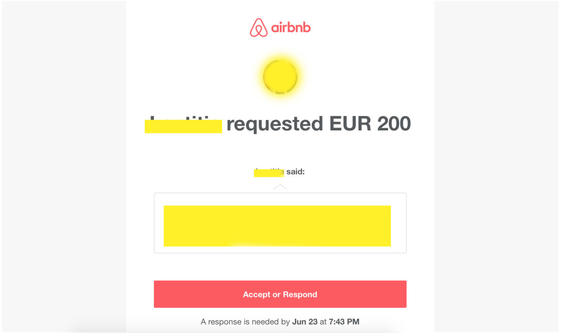 6 airbnb request 200 euro