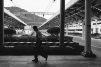 A man walks in the Yeosu KTX Station, which makes it easier for people from all over Korea to get to the Expo. Fuji X100s, 23mm.