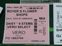 A tag identifies daisies destined for Royer's.