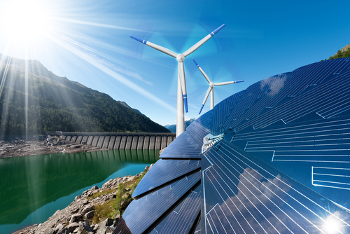 Mountainous background with wind turbines