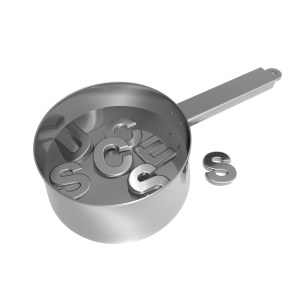 3D Illustration of the word 'success' being cooked in a saucepan. Suggested concept – 'A Recipe For Success'