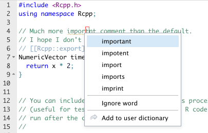 Context menu in C++ comment