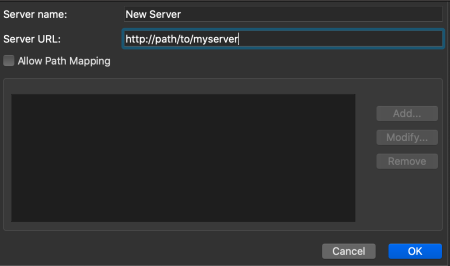 The Add Session Server Dialog