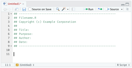 Screenshot showing an R script with content from a default template