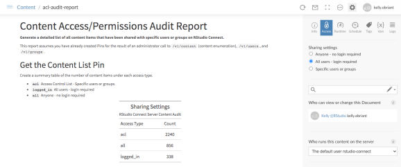 Example Content Access Audit Report