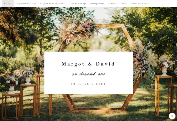 Screenshot of the landing page for the {wedding} app. Custom fonts and a background image make for a striking first impression.