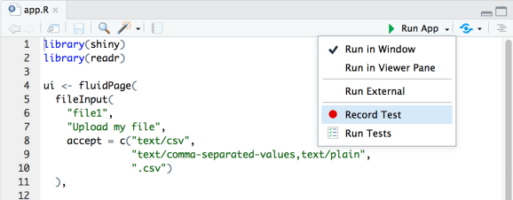 RStudio new shinytest menu