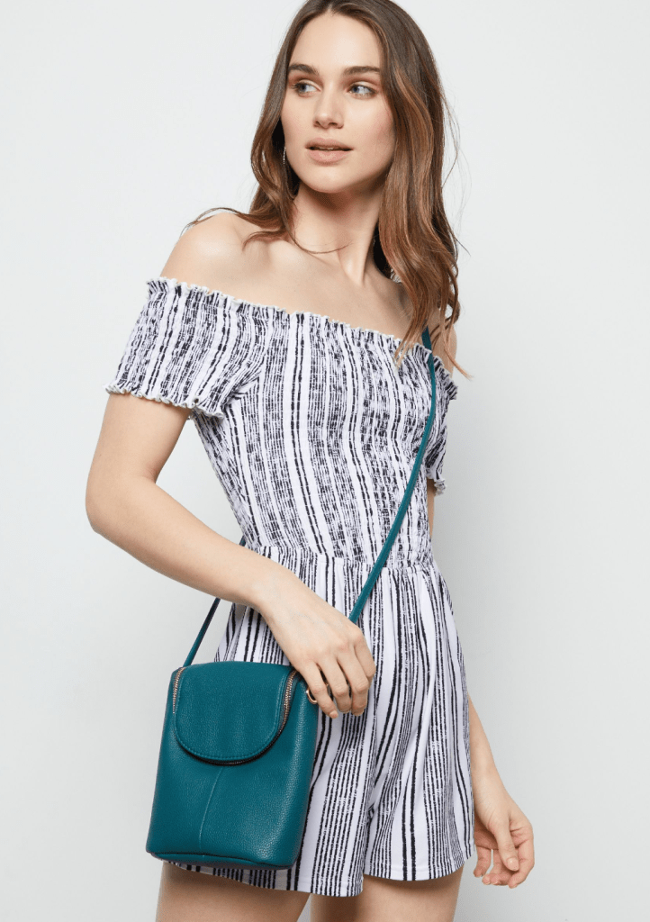 Turquoise Faux Leather Punch Crossbody Bag