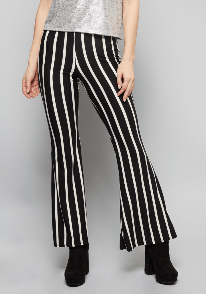 Black Striped Super Soft Mid Rise Flare Pants Internship Outfit Ideas
