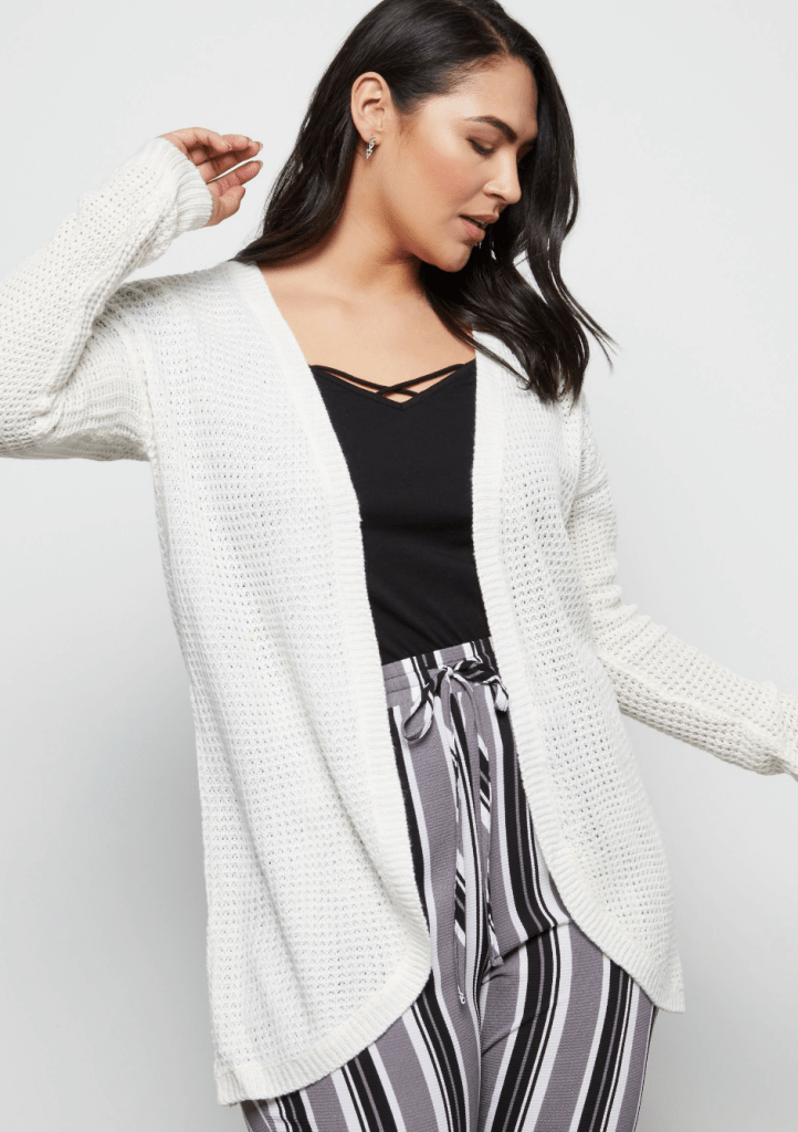 Plus Ivory Curved Open Front Cardigan Internship Outfit Ideas