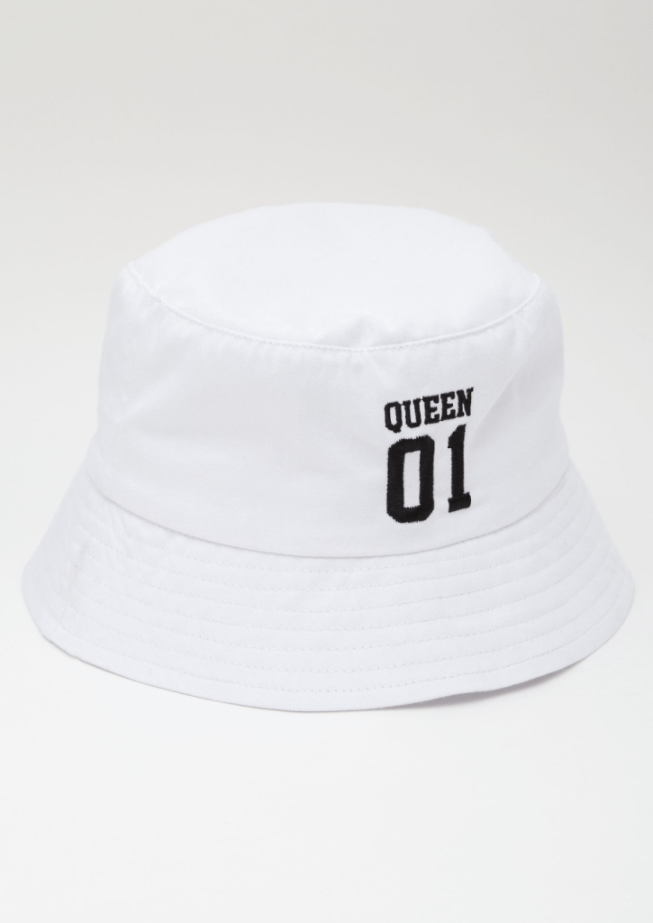 Queen 01 White Bucket Hat Throwback Outfits
