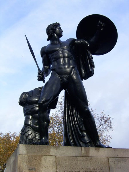 A statue of … right, pen and pad of paper! – in Hyde Park none the less.