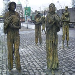 This is a Famine Memorial on the shore of the Liffey in Dublin, the kicker is the photo below.