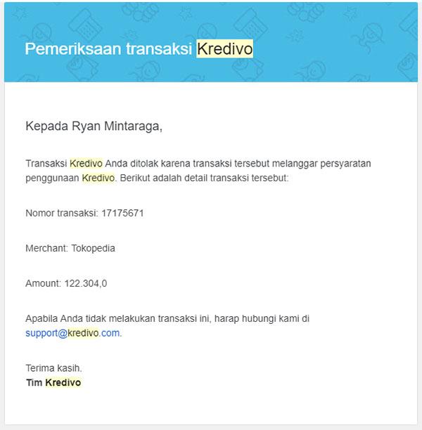 transaksi ditolak karena dianggap melanggar persyaratan penggunaan kredivo (screenshot)