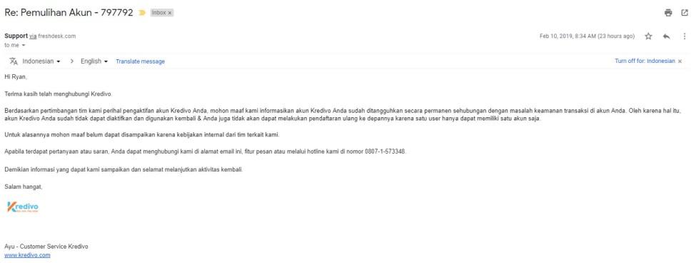 surel balasan dari kredivo bahwa akun saya ditangguhkan permanen dan tidak bisa digunakan kembali (screenshot)