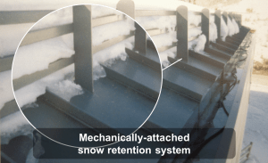 Mechanically-attached snow retention system