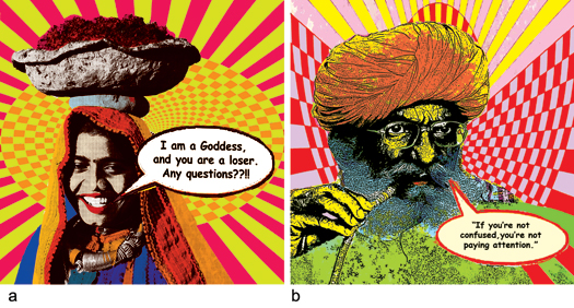 K. Patel, a) I am a goddess b) Pipe Dreams, Screen Prints on Acrylic, 2012, 39.5 x 39.5 in