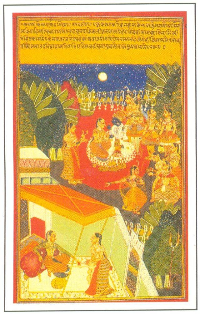 Krishna enjoying the dance of gopis,
