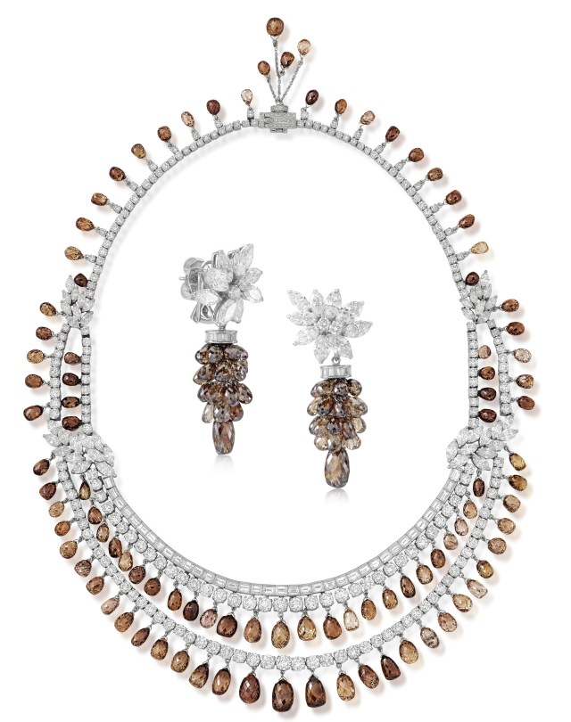brown and colourless diamond necklace