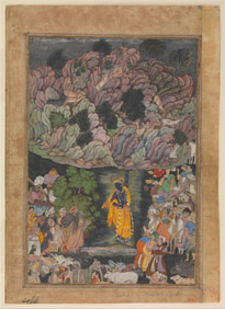 """""""Krishna Holds Up Mount Govardhan to Shelter the Villagers of Braj."""" Folio from a Harivamsa (The Legend of Hari (Krishna)), ca. 1590–95. Ink, opaque watercolor, and gold on paper, 11 3/8 x 7 7/8 inches. (28.9 x 20 cm). The Metropolitan Museum of Art, Purchase, Edward C. Moore Jr. Gift, 1928 (28.63.1). Image: © The Metropolitan Museum of Art. Source: metmuseum.org"""