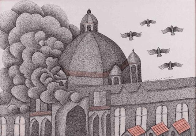 Venkat Raman Singh Shyam, Smoking Taj (2009), pen and acrylic on canvas, 99 x 69 cm. Must Art Gallery, New Delhi, Photo © Must Art Gallery, New Delhi, India Image Credit: http://www.ngcmagazine.ca/features/sakahan-photo-gallery/Venkat-Raman-Singh-Shyam-Smoking-Taj