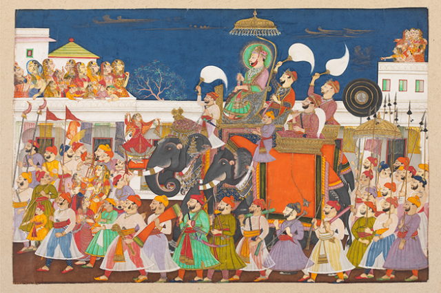 Painting of procession on Ram Singh II of Kota, India, Circa 1850; Image Credit, http://www.vam.ac.uk/content/articles/m/maharaja-the-splendour-of-indias-royal-courts/