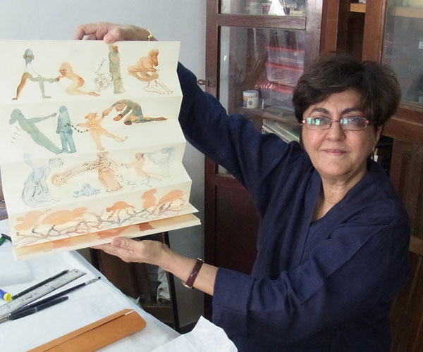 Nalini Malani Working at Home, Mumbai, 2013