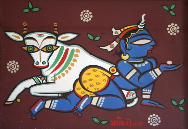 Krishna with Cow 2, Jamini Roy