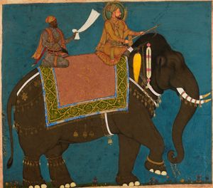 Sultan Muhammad Adil Shah and Ikhlas Khan Riding an Elephant, Bijapur, c.1645, From the Colelction of Howard Hodgkin