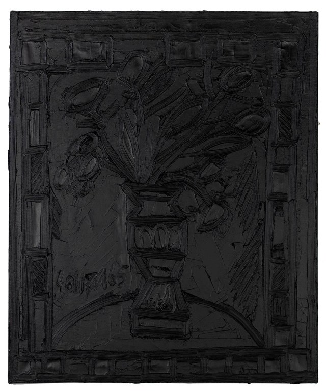 Vase with Flowers, 1965, F. N. Souza. Image Credit: http://grosvenorgallery.com/exhibitions/current-exhibitions/f-n-souza-black-on-black/#