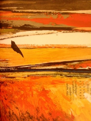 The Last Bird (detail), 2005, Sujata Bajaj. Image Credit: http://artradarjournal.com/2011/12/13/words-in-art-how-indian-born-sujata-bajaj-uses-sanskrit-on-canvas/