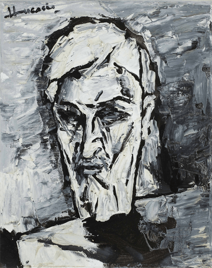 M F Husain, Self Portrait, 2003, Oil on Canvas board