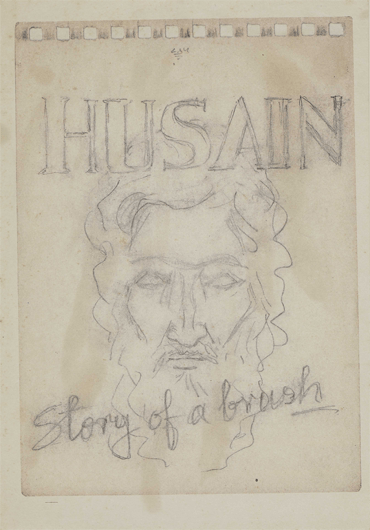 M F Husain, Story of the Brush, Pencil on Paper