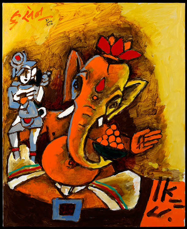 M.F. Husain, Ganesha, 2008 from the exhibition M.F. Husain: Master of Modern Indian Painting at the Victoria and Albert Museum, London Source: http://www.vam.ac.uk/content/exhibitions/mfhusain/about-the-exhibition/