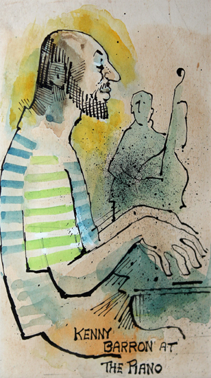 """Kenny Barron at the Piano"", from the collection Yatra...And All That Jazz... Watercolour, pen and ink on paper"