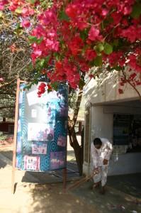 北インド 落ちた花びらを集める人。