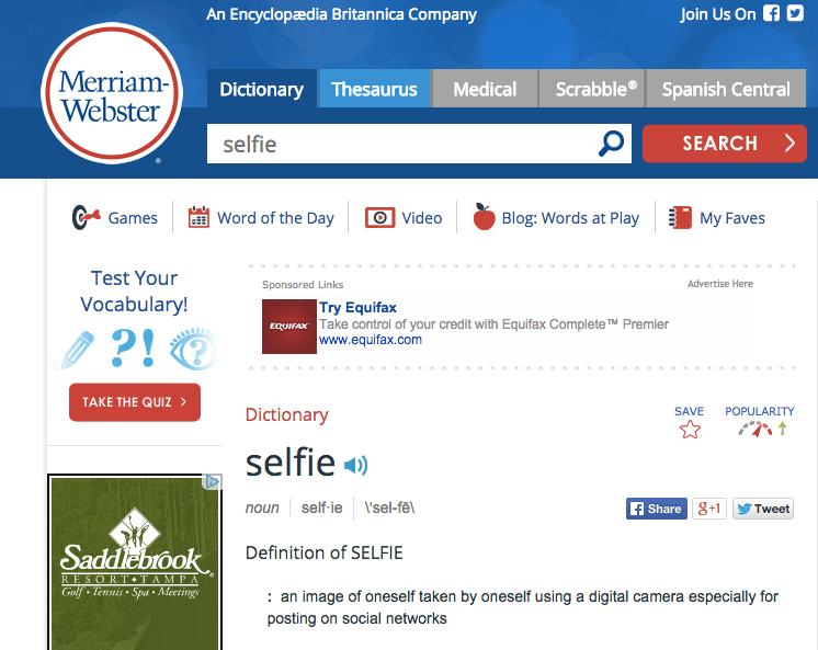 meriam webster selfie screen shot
