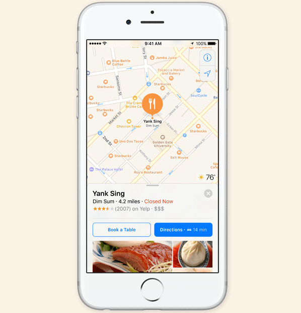 Apple Maps 'Book a Table'