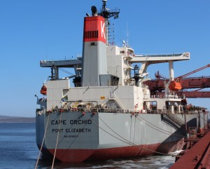 The Cape Orchid, South Africa's first registered cargo vessel to carry the country's flag since 1985, seen docked here at the port of Saldanha to load its first shipment of 170 000 tonnes of iron ore since registration. The vessel is owned by a Vuka Marine.