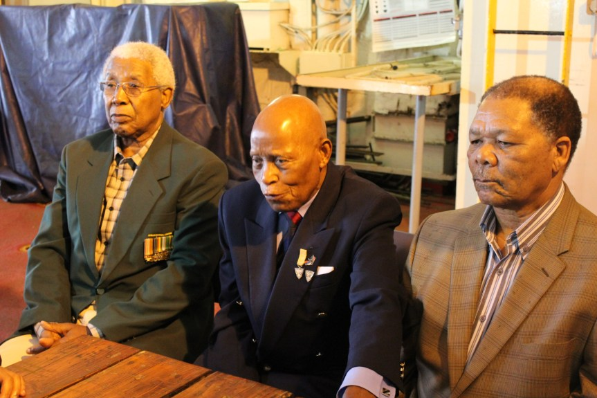 SHARING EXPERIENCE: The three veterans, part of a group of five still alive today in South Africa, also shared their story of the aborted occupation of the USSR vessel, Aventura, which they'd commandeered towards South Africa for attack against the then apartheid regime.