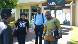 SA Maritime Safety Authority (SAMSA) CEO Commander Tsietsi Mokhele (Right) with Media & Communications manager Tebogo Ramatjie and Executive Head assistant Charity Bodiba exiting the SABC's Sea Point studios after a live television interview early today.