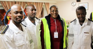 Championing South Africa maritime economic sector skills development: Transport Minister Ms Dipuo Peters with the country's first group of cadets taken on board Vuka Marine's commercial cargo vessel, the Cape Orchid for a six months sea based training.