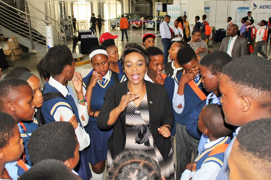 SHARING CAREER INFO: Deputy Minister of Transport, Ms Sindisiwe Chikunga interacting with learners at this year's Transport Week Career Expo currently taking place at the Sci-Bono Centre in Newtown, Johannesburg.