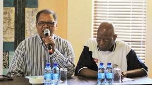 Veterans of the MK naval unit, Commander Fanele Mbali and former Commissar Mr Tlou Rankabele Cholo.