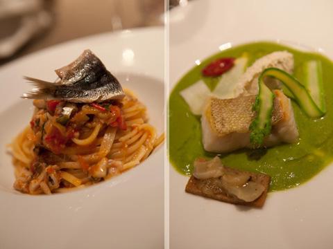Creazioni di Paola Budel: spaghetti con le sarde - variazione di baccalà (foto G. Frassi)